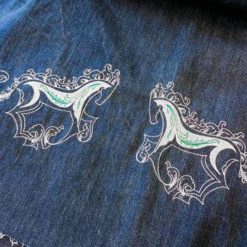 б0073 Bernini For Blues Деним Белогривые лошадки. Вышивка, м.