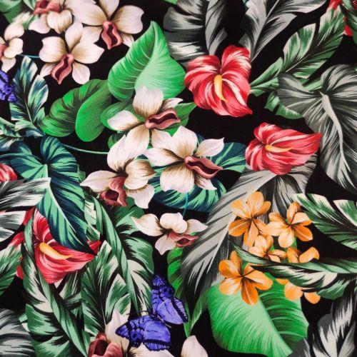 """ф5912 Gucci. Бабочки и цветы-""""поцелуйчики"""" на черном крепдешине (100% шелк). Италия."""