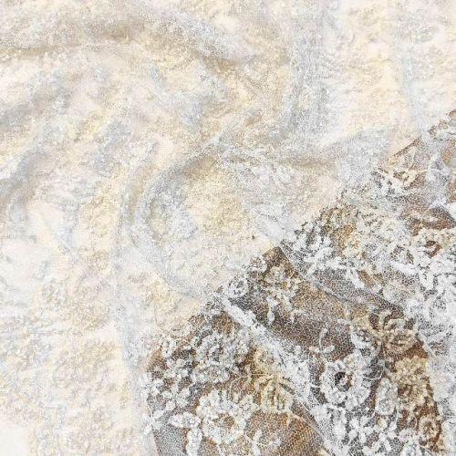 ф3364 Кремовая ткань с бисерными цветами и бантиками