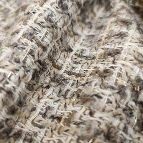 ф5816 Серо-бежевая рогожка с проблесками (35%шерсть 15%хлопок 45%акрил 5%люрекс). Италия