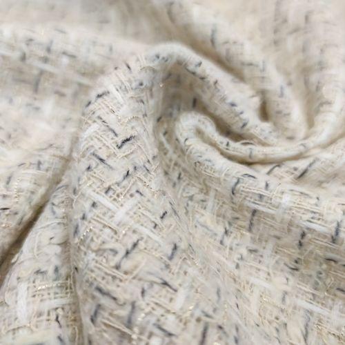 ф5817 Молочная рогожка с серыми и белыми штрихами (35%шерсть 15%хлопок 45%акрил 5%люрекс). Италия