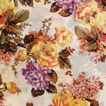 ф5069 Желтые и фиолетовые хризантемы. Батист. (100% хлопок).