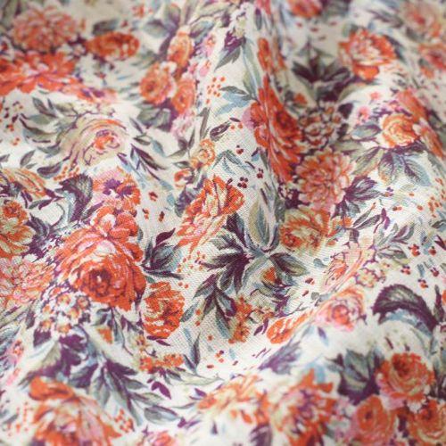 ф5772 Оранжевые розочки в лиловых листьях (100% лен)