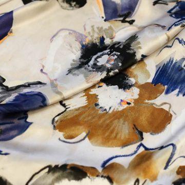 ф5289 Elle Saab. Таинственные синие анемоны на рассвете. Атлас (100% шелк).