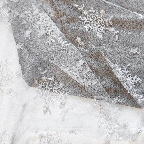 ф3096 Белая сетка с бисерными букетами незабудок