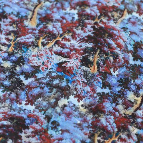 ф5853 Ungaro. Зачарованный голубой лес (96% шелк 4%эластан). Италия.