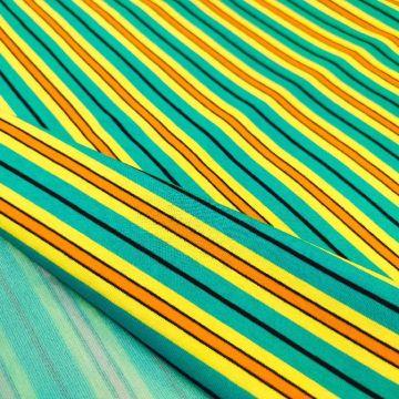 ф5836 Бирюзово-желтый трикотаж (90% хлопок, 6% п/э, 4% эластан)