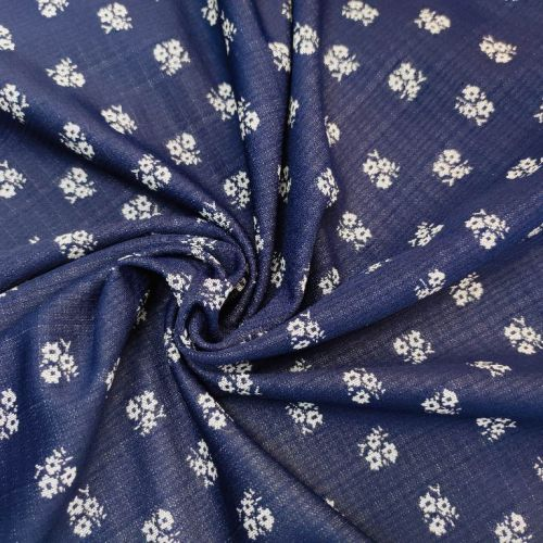ф5837 Синяя плательная ткань с белыми букетиками (100% п/амид)