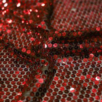 7071 Сплошные красные блестки на коричневом шифоне