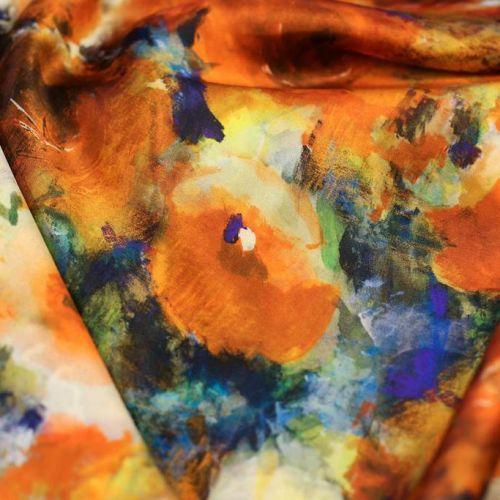 ф5280 Оранжевые кувшинки импрессионистов. Атлас. (100% шелк).