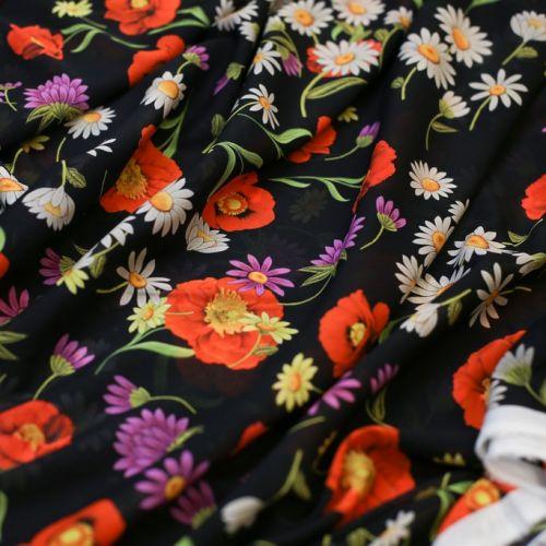 ф5976 Dolce & Gabbana. Черный шифон с маками и ромашками (100% шелк). Италия.
