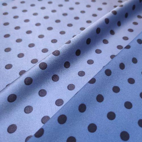 ф5949 Сизо-голубой креп-атлас в черный горох (96% шелк, 4%эластан). Италия.