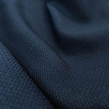ф5839 Синяя костюмная ткань с фактурной клеткой (100% п/э)