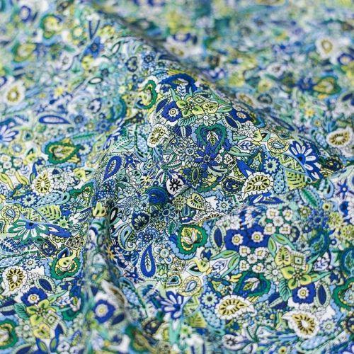 ф5682 Liberti. Садик-огородик в сине-желтых красках (99%хлопок 1%эластан).