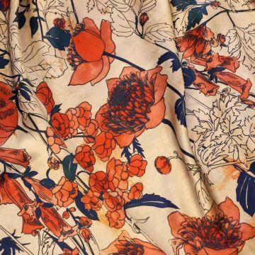 ф5114 Маки с синими листьями в ванильном дурмане. Атлас (100% шелк).