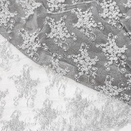 ф0881 Белая Расшитая, Пайетки ткань с незабудками и завитками