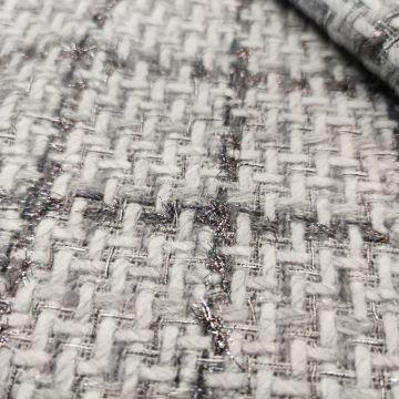 ф5811 Серо-бело серебряная рогожка в клеточку (45%шерсть 45%акрил 10%люрекс). Италия