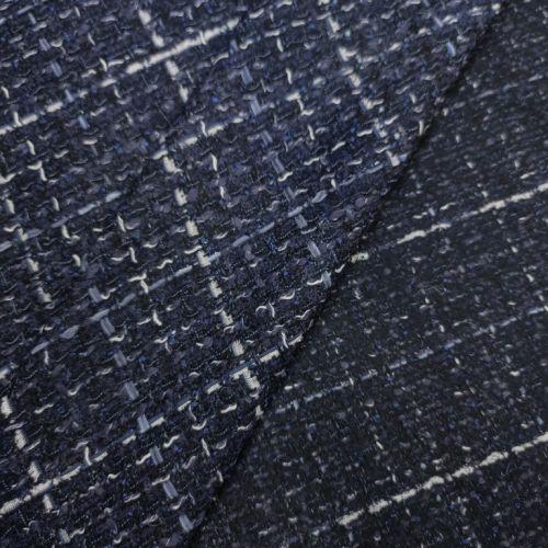 ф5812 Сине-бело-серая рогожка (45%шерсть 45%акрил 10%вискоза). Италия