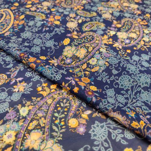 ф5936 Etro. Желто-фиолетовые перцы на синем шифоне стрейч. (96% шелк, 4% эластан). Италия