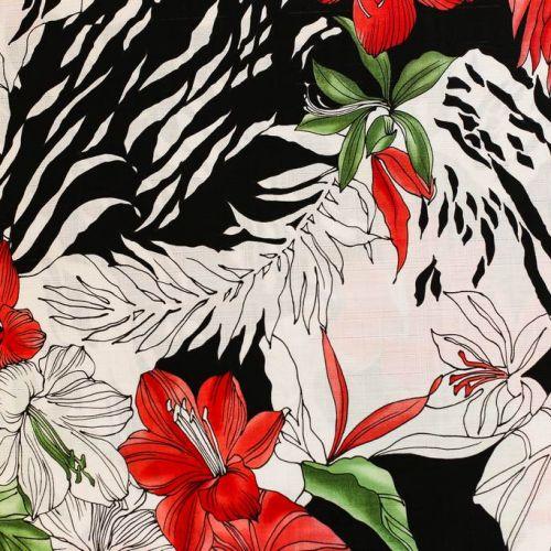 ф5075 Красные лилии и зебра (100% хлопок).