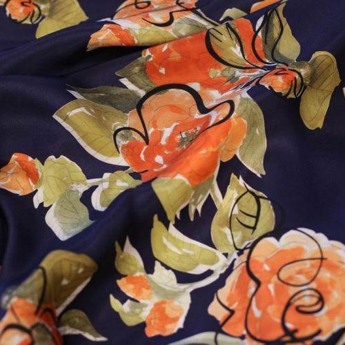 ф5285 Облепиховые розы с каляками на синем. Реверс-атлас (100%шелк).