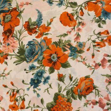 ф5065 Оранжевые и бирюзовые цветы на белом батисте (100% хлопок).