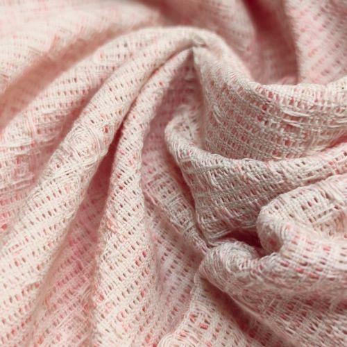 ф1011 Valentino. Бело-розовая рогожка с клетчатой фактурой