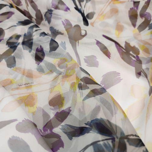 ф5900 Missoni. Фиолетово-черно-желтые ветки багульника на снегу (100% Шелк). Италия.