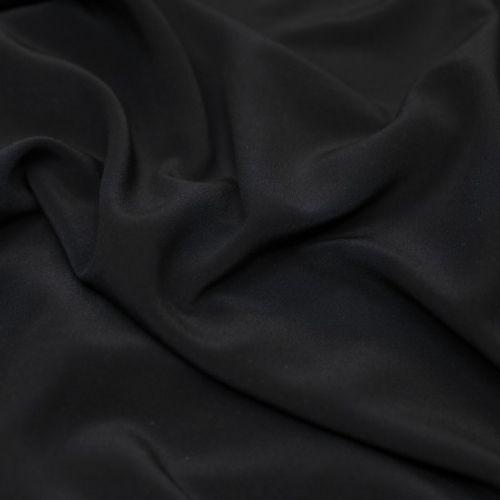 ф5935 Черный крепдешин стрейч (97%шелк 3%эластан). Италия.