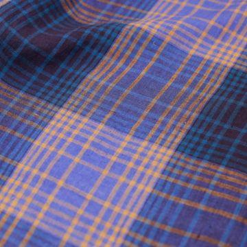 ф5887 Сине-голубая летняя клетка (100% лен). Италия.