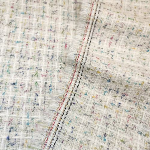 ф5814 Белая рогожка с цветными вкраплениями (45%шерсть 45%акрил 10%вискоза). Италия