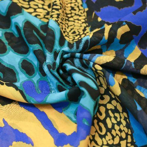 ф5898 Ungaro. Сине-желтые тигрово-леопардовые миражи. Жоржет. (100% шелк). Италия.