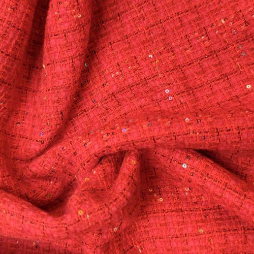 ф5815 Красная рогожка с блестками (45%шерсть 45%акрил 10%вискоза). Италия