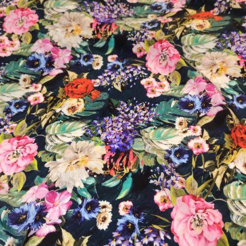 ф5910 Dolce&Gabbana. Разноцветные пионы и гиацинты на крепдешине цв. морской волны (100%шелк).