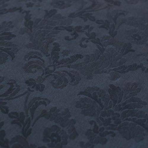 ф5643 Темно-синий жаккард с цветами и вьюнами (98%хлопок 2%эластан)