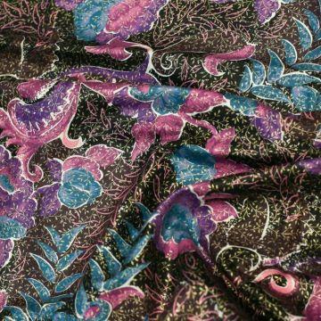 ТД0016 РЕТРО-ТКАНИ ИЗ СССР. Фиолетовые цветы в мелкой золотой листве. (100% хлопок).