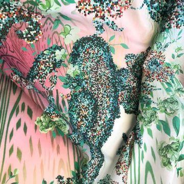 ф0999 Etro Зеленые мозаичные огурцы с розами