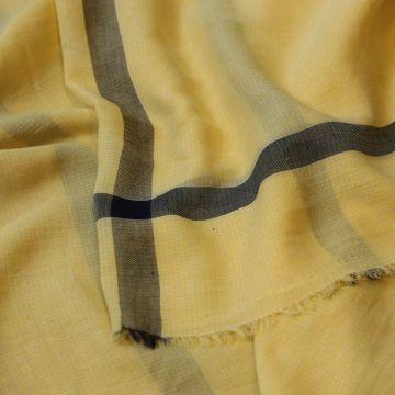 ф5027 Желтая пашмина с серой полосой (75% кашемир 25% вискоза).