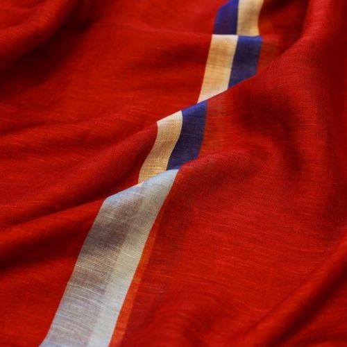 ф5047 Красная пашмина с синей и голубой полосой. (25% кашемир 25% вискоза 50% лен).