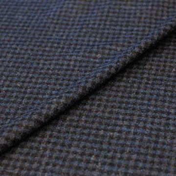 ф5504 Loro Piana. Черно-голубая клеточка vichy. (80%кашемир20%шерсть).