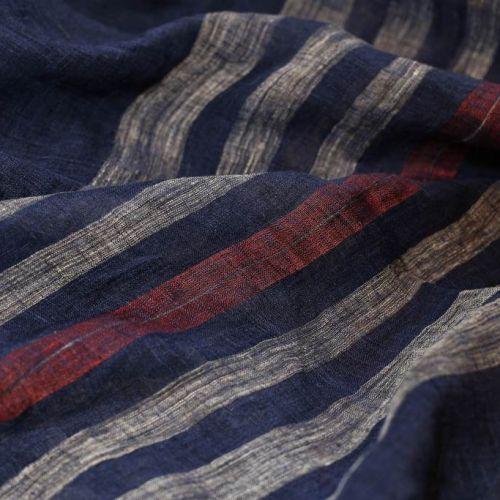 ф5048 Синяя пашмина с белыми и красными полосами (25% кашемир 25% вискоза 50% лен).