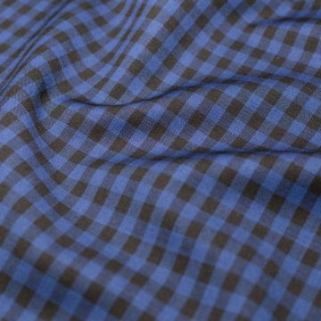 ф4939 Черно-синяя клеточка Vichy (100% шерсть). Италия.