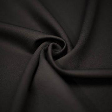 ф4975 Однотонная черная ткань стрейч Double Face (89% шерсть 8% п/а 3% эластан). Италия.