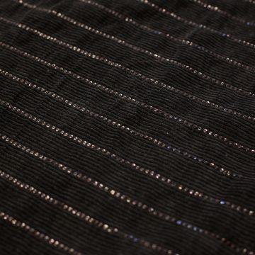2498 Черный вельвет с блесточными полосками (100% хлопок), Италия