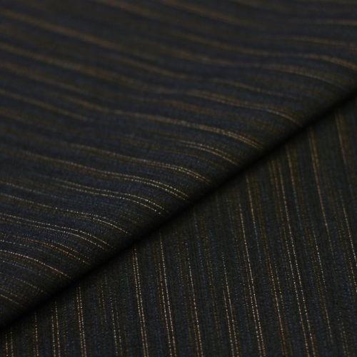 5904 Темно-синяя ткань стрейч в сдвоенную золотистую полоску