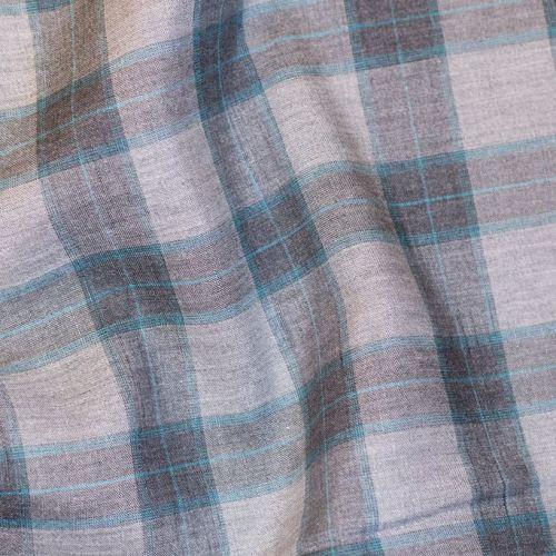 ф4936 Серая клеточка с бирюзой (100% шерсть). Италия.
