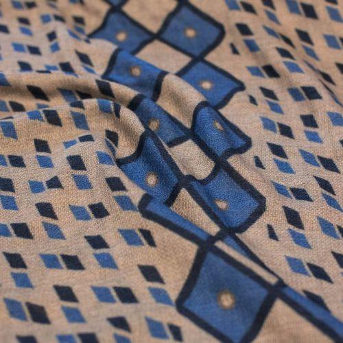 ф5514 Dior.Голубые ромбы на бежевом фоне. Плательная ткань (70% кашемир 30%шерсть).