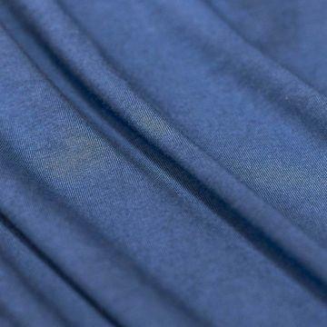 "и0034 ""Вареный"" синий крепдешин стрейч (97% п/эстер 3% эластан)."