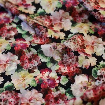ф5264 Valentino. Розовые, желтые и малиновые густые цветы на крепдешине. (100% шелк).