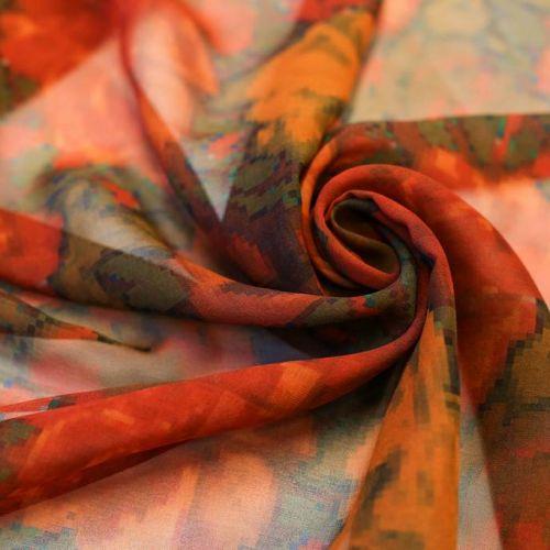 ф5235 Etro. Шифон с красными и оранжевыми пиксельными розами. (100% шелк).